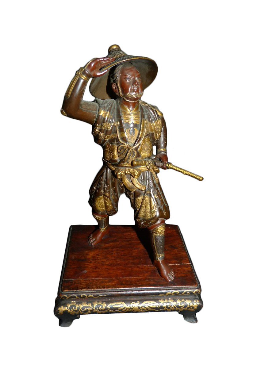 okimono samurai bronze japan meiji period signed miyao zo ref 64754