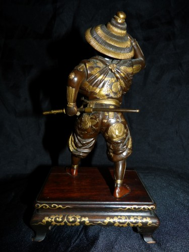 19th century - Okimono Samurai bronze -  Japan Meiji period signed Miyao Zo