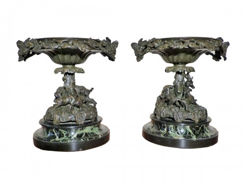Christophe Fratin (1801-1864) - Paire de coupes en bronze