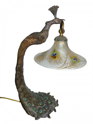 "Attributed to A. Rollet - Art Nouveau ""Peacock"" lamp in bronze and enamelled glassware"