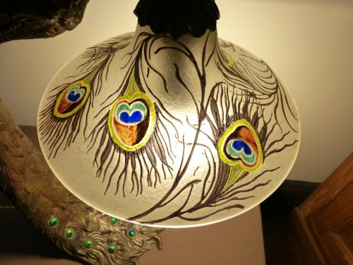 """Lighting  - Attributed to A. Rollet - Art Nouveau """"Peacock"""" lamp in bronze and enamelled glassware"""