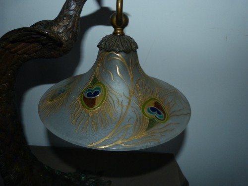 """Art nouveau - Attributed to A. Rollet - Art Nouveau """"Peacock"""" lamp in bronze and enamelled glassware"""
