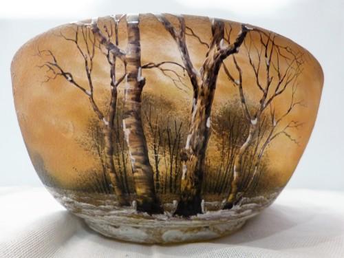Glass & Crystal  - Daum Nancy cut engraved glass Snow Landscape