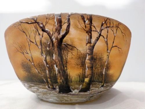 20th century - Daum Nancy cut engraved glass Snow Landscape