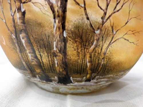Antiquités - Daum Nancy cut engraved glass Snow Landscape