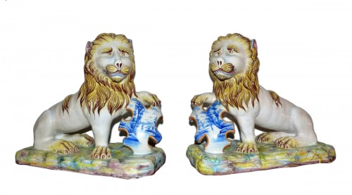 Emile Gallé - Pair of earthenware lions
