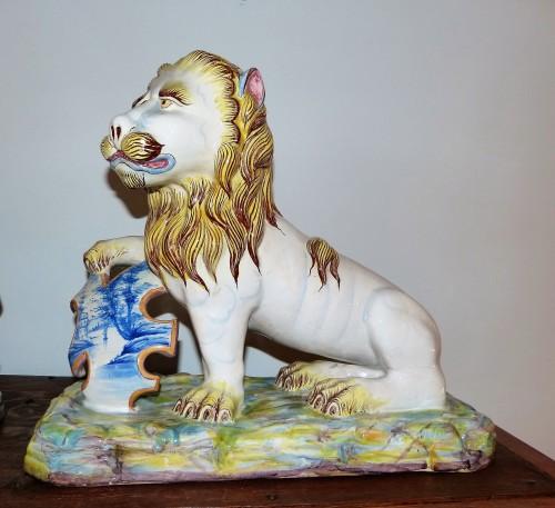 Emile Gallé - Pair of earthenware lions - Art nouveau