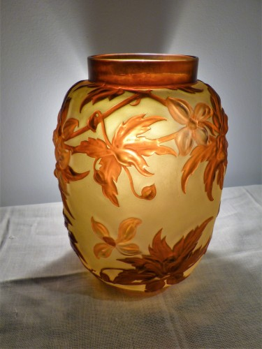 Gallé circa 1925 - Large vase with clematis - Art nouveau