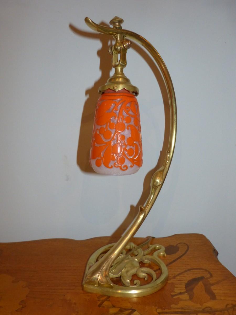 Gravée Tulipe Daum Table Pied NancyLampe De Art Bronze Nouveau n0wk8OP
