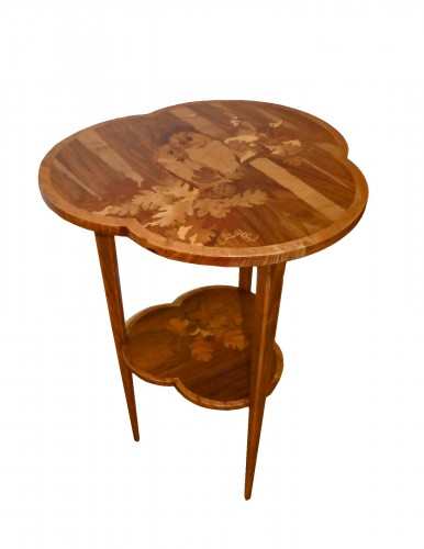 Emile Gallé - Small pedestal table with owls