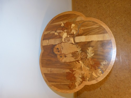 Emile Gallé - Small pedestal table with owls -