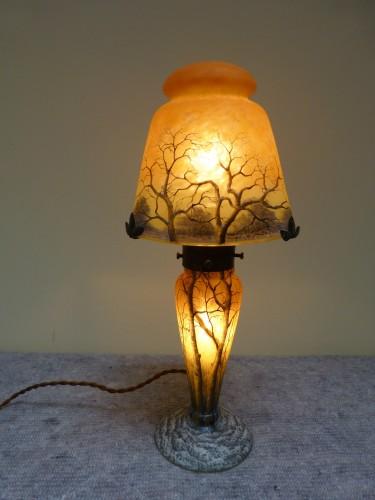 Daum Nancy, Mushroom Snow Landscape Lamp - Glass & Crystal Style Art nouveau