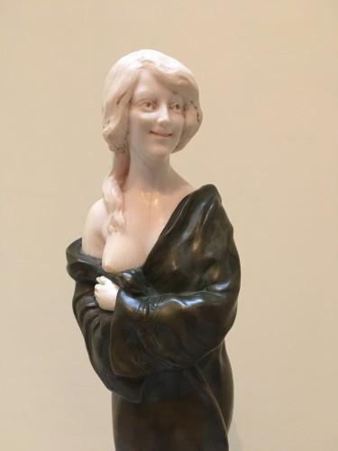 Samuel Lipchytz (1880- 1943) - Elegant with a coat, Art Nouveau chryselephantine - Sculpture Style Art nouveau