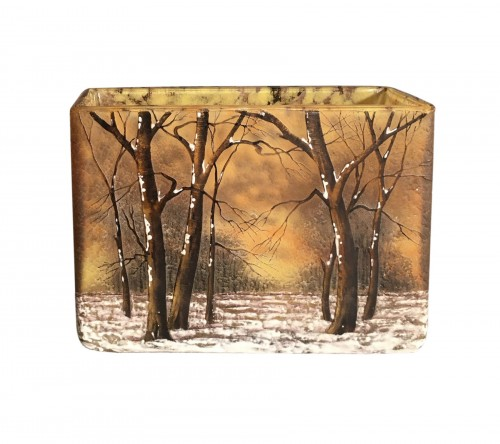 Daum, Nancy - Art Nouveau Snow Landscape Rectangular Vase