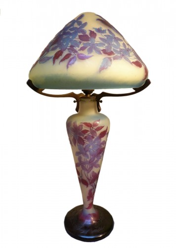 Emile Gallé - Mushroom lamp with clematis