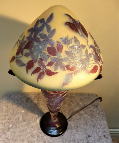 Emile Gallé - Mushroom lamp with clematis - Glass & Crystal Style Art nouveau