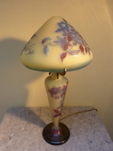 20th century - Emile Gallé - Mushroom lamp with clematis