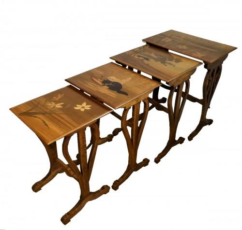 Emile Gallé - Series of Art Nouveau nesting tables