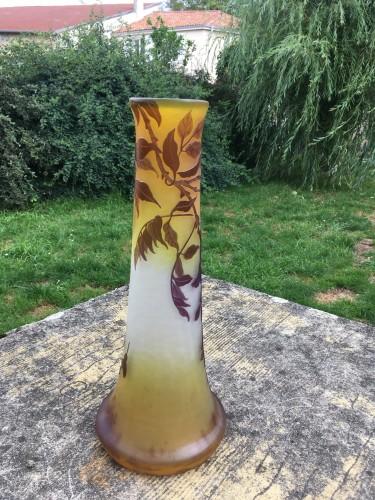 Antiquités - Emile Gallé - Large vase wisteria with elephant foot