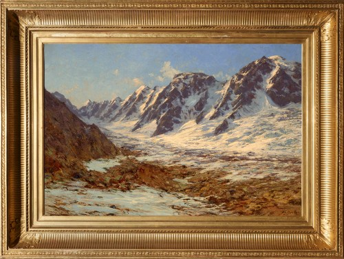 Charles BERTIER (1860 - 1924) - Mountain Landscape, France Mont Blanc Massif - Paintings & Drawings Style