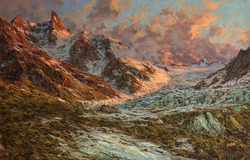 Charles BERTIER (1860 - 1924)  - French Mountain Landscape, Mont-Blanc