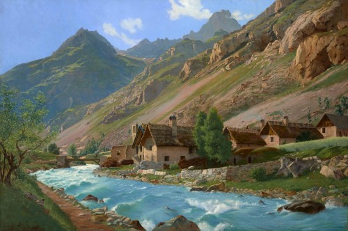 Édouard BRUN (1860 - 1935) - French Mountain Landscape, Torrent du Vénéon