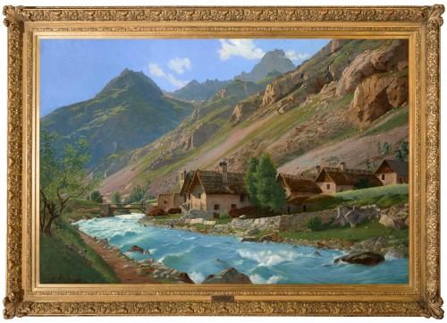 Édouard BRUN (1860 - 1935) - French Mountain Landscape, Torrent du Vénéon - Paintings & Drawings Style