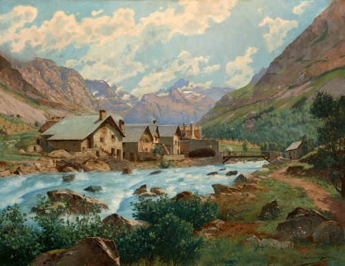 Édouard BRUN (1860 - 1935) - Mountain landscape, France Oisans