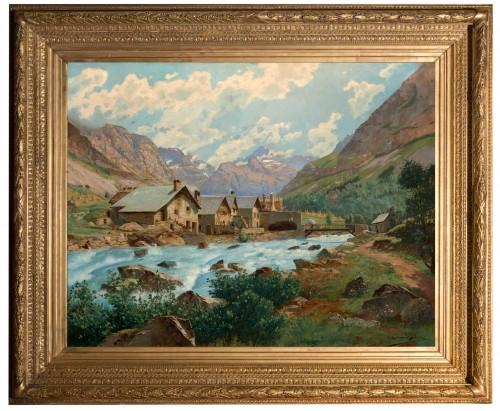 Édouard BRUN (1860 - 1935) - Mountain landscape, France Oisans - Paintings & Drawings Style