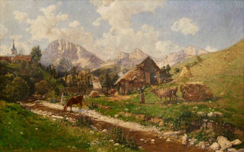 Adrien JOURDEUIL (1849 1907)  - French Mountain Landscape, Gresse en Vercors