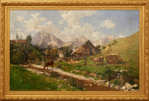 Adrien JOURDEUIL (1849 1907)  - French Mountain Landscape, Gresse en Vercors - Paintings & Drawings Style
