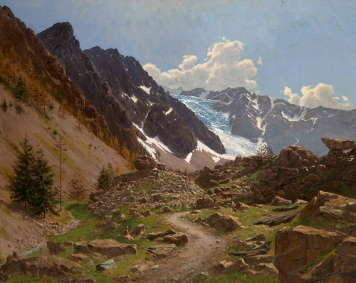Édouard BRUN (1860 -1935) - French Mountain Landscape (Hautes-Alpes)
