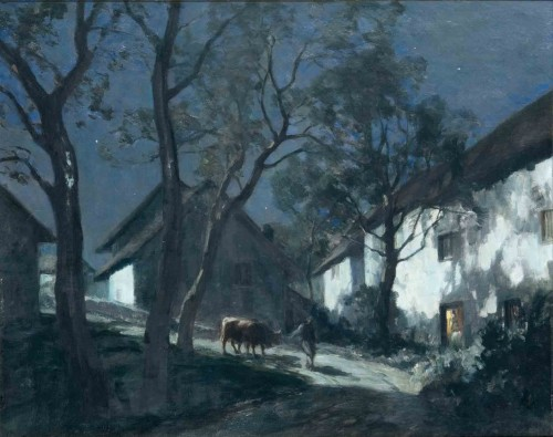 François CACHOUD (1866-1943) - The return to the moonlit night