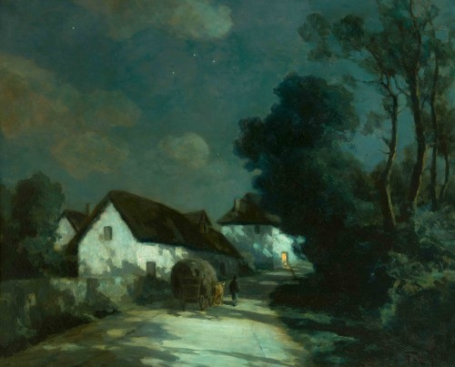 François CACHOUD (1866-1943) - Summer night on the road