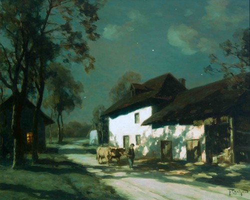 François CACHOUD (1866-1943) - On the road by clear night