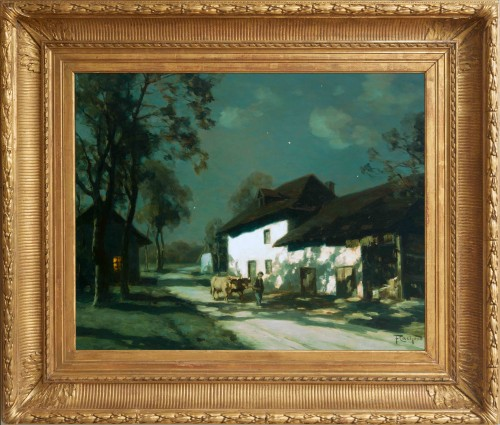 François CACHOUD (1866-1943) - On the road by clear night - Paintings & Drawings Style