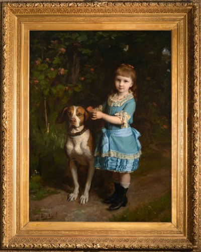 Édouard d'APVRIL (1843-1928) - Portrait of Mademoiselle Chatrousse - Paintings & Drawings Style
