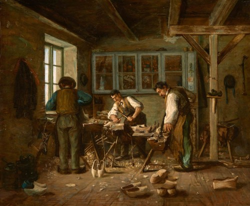 Édouard d'APVRIL (1843-1928) - The clog makers' workshop