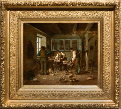 Édouard d'APVRIL (1843-1928) - The clog makers' workshop - Paintings & Drawings Style