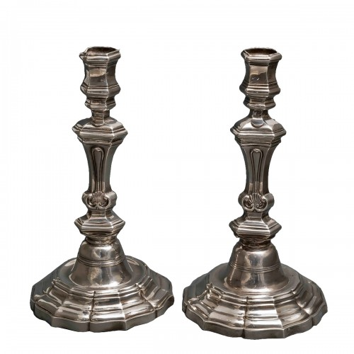 Pair of silver candlesticks, Henri FAUCHÉ Grenoble 1753
