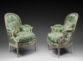 A pair of louis xvi painted bergeres