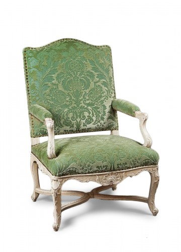 An elegant laquered Regence armchair