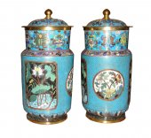 A pair of chinese cloisonne enamel jailing pots