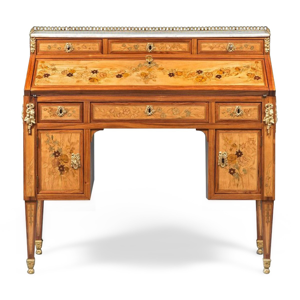 A louis xvi floral marquetry bureau en pente by topino for Bureau louis xvi