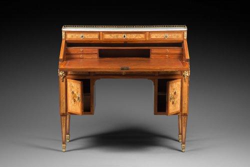 Furniture  - A Louis XVI floral marquetry bureau en pente by Topino