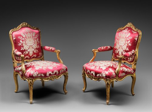 A Pair of Louis XV giltwood Fauteuils à la Reine