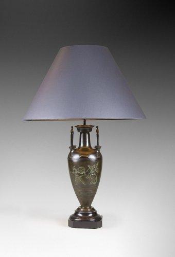 Lighting  - Patinated bronze 19th Century lamp