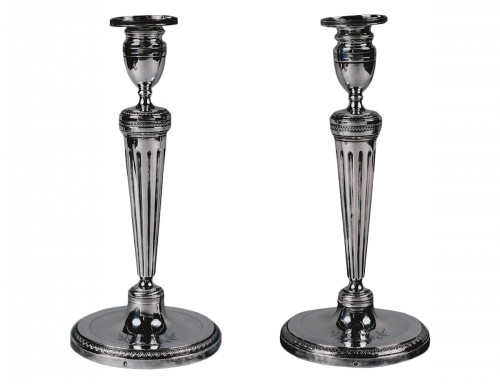 An early 19th Century pair of silver candlesticks Pierre Paraud