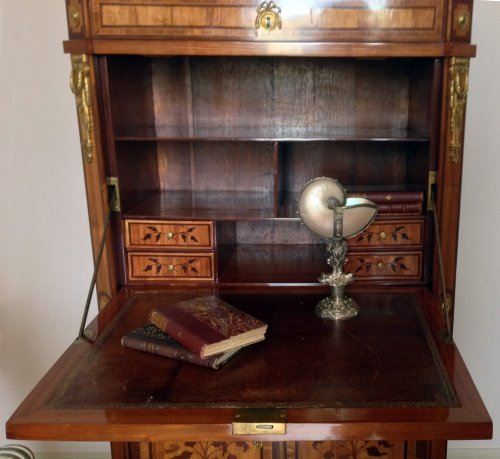 18th century - A transition end-cut marquetry drop-front secretaire