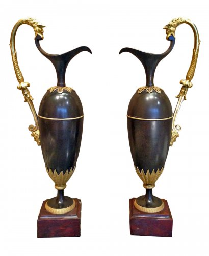 An Empire pair of aiguieres attributed to Ravrio